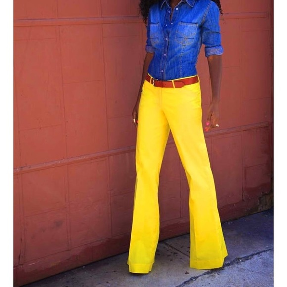 newest selection clients first official sale SALE J Crew yellow bell bottom pants nwot 12 short